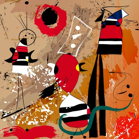 abstract background illustration, with circlesdots, strokes and splashes, art inspired Illustration