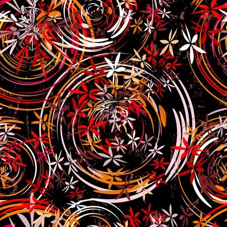 floral abstract: seamless background pattern, with circlesoval, paint strokes and splashes, grungy
