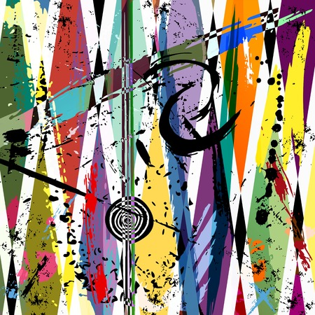 graffiti wall: abstract background, with strokes, splashes and geometric lines