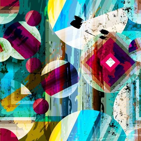 abstrakte muster: abstrakte geometrische Muster Hintergrund mit Kreisen, Strichen und Spritzern, nahtlose