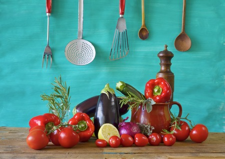 various vegetables and kitchen utensils