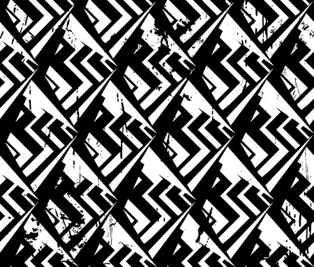 abstract geometric background, with strokes and splashes, zigzag, black and white