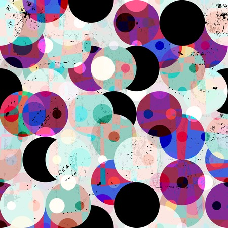 circular: seamless pattern background, retrovintage style, with circles, strokes and splashes