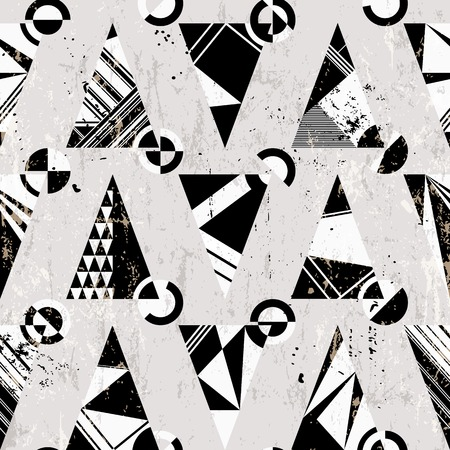 seamless pattern background, with triangles, circles, strokes and splashes, black and white