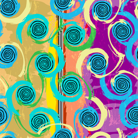 pink and black: seamless background pattern, with circles, strokes and splashes
