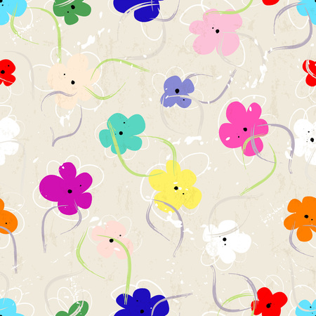 flower art: seamless floral pattern background, with strokes, splashes and little flowers