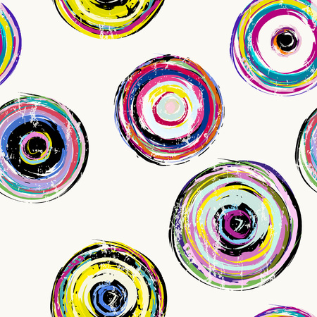 pink floral: seamless background pattern, with circles, strokes and splashes