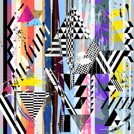 canvas painting: abstract background, with strokes, splashes, stripes and triangles