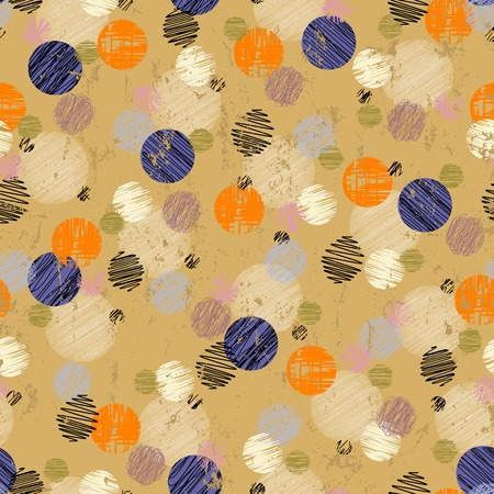 chequered drapery: seamless pattern background, polka dots, with strokes and splashes, retro style Illustration
