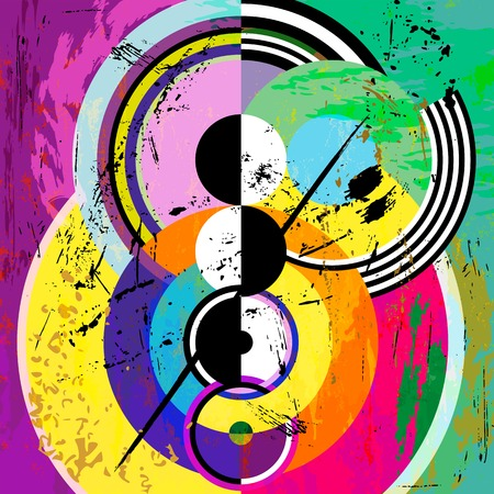 paint strokes: abstract circle background, retrovintage style with paint strokes and splashes