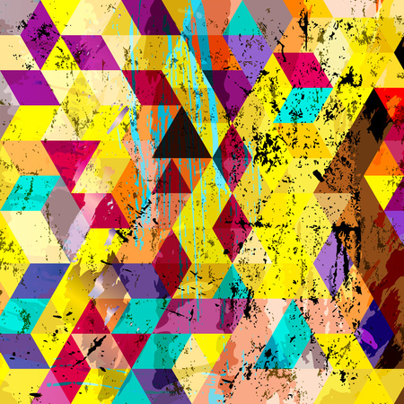 canvas painting: abstract geometric background, with squares, triangles, strokes and splashes Illustration