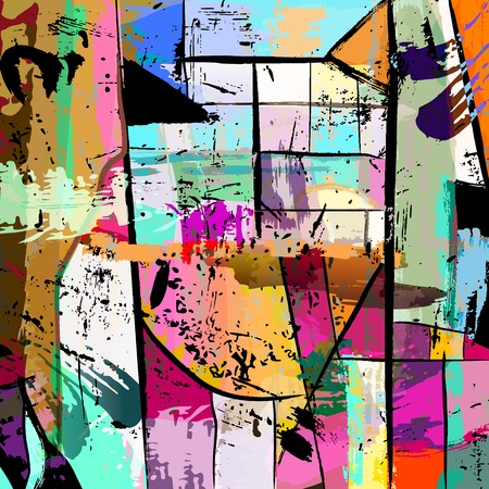 paint strokes: abstract background composition, with paint strokes, splashes and squares Illustration