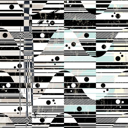 abstract background pattern, with waves and stripes, black and white, grungy