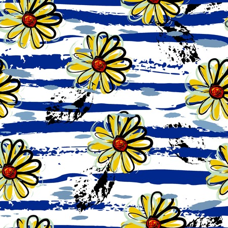 floral seamless pattern background, with strokes, spring flowers Illustration