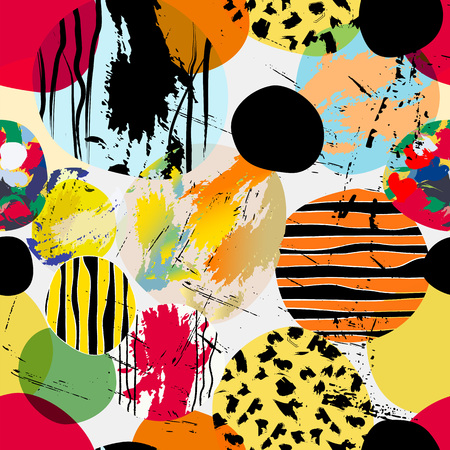 seamless background pattern, with circles and strokes, summer color