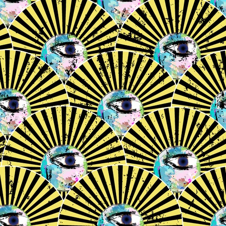 face painting: seamless background pattern, with circleseyes, strokes and splashes