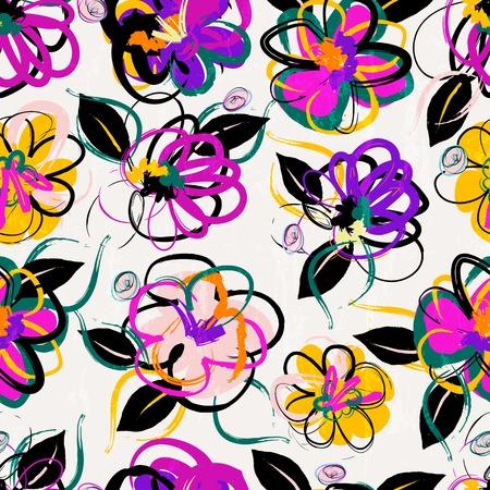 Bloemen naadloze patroon achtergrond, met streken, zomer bloemen
