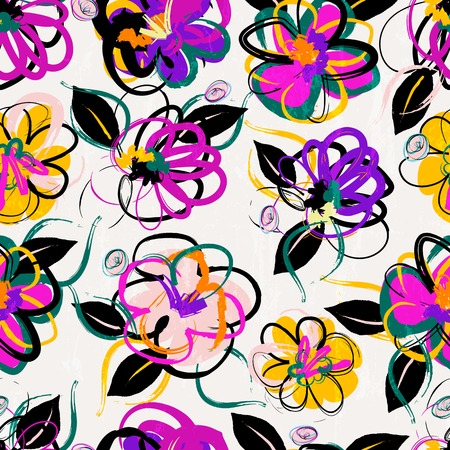 floral seamless pattern background, with strokes, summer flowers