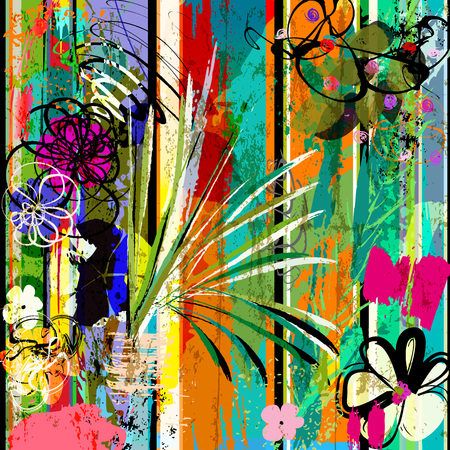 abstract background composition with flowers, strokes, splashes and geometric lines Çizim