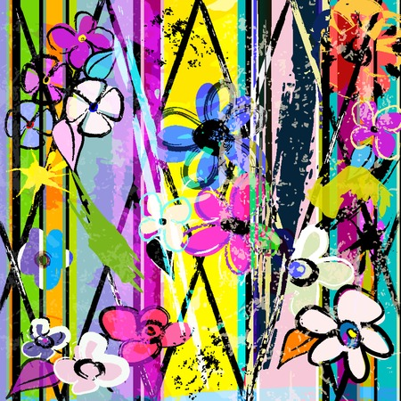 abstract background, with paint strokes, splashes and little flowers Stock Illustratie