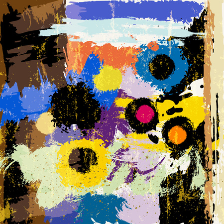 abstract paintings: abstract background composition, with paint strokes and splashes