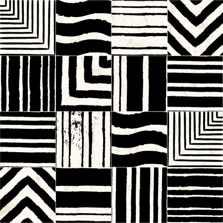 traditional pattern: abstract background pattern, with stripes, squares, paint strokes and splashes Illustration