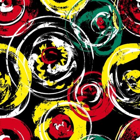 amarillo y negro: patrón de fondo sin fisuras, con círculos, golpes y salpicaduras