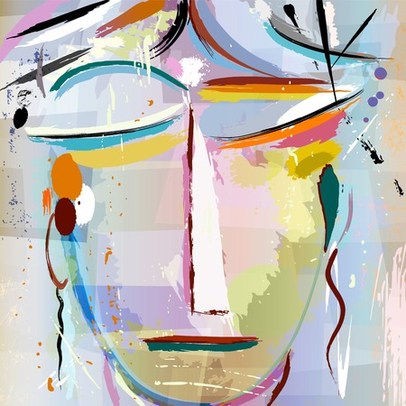 abstract face of a woman, with paint strokes and splashes, face/mask