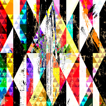 canvas painting: abstract background composition with triangles, paint strokes, splashes and rhombus Illustration