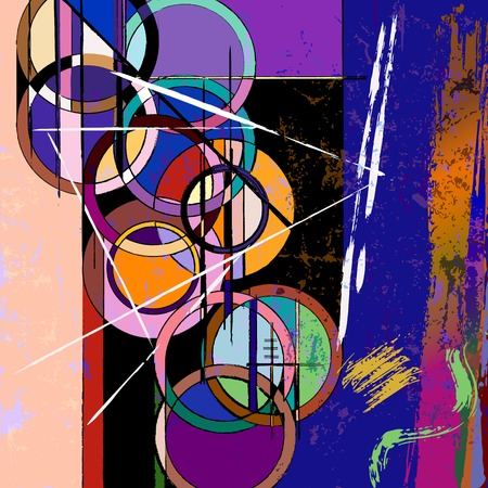 circle abstract: abstract circle background, with paint strokes and splashes, retrovintage style Illustration