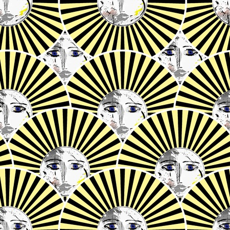 seamless  pattern, with retro suns, vector illustration