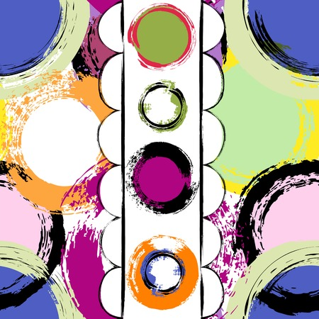 paint strokes: seamless background pattern, with circles, paint strokes and splashes