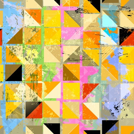 paint strokes: abstract background composition, with squares, paint strokes and splashes, seamless