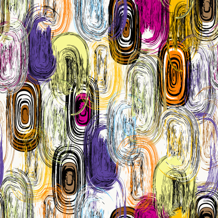 seamless background pattern, with circlesoval, strokes and splashes, grungy Ilustracja