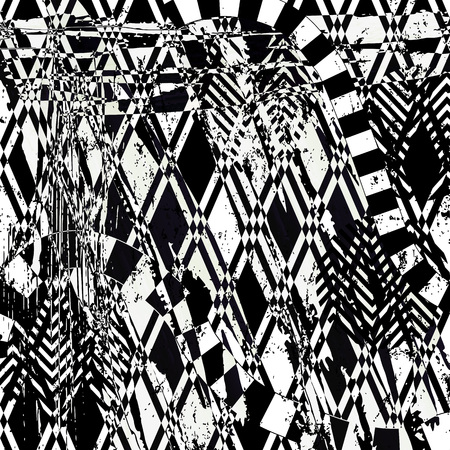 abstract pattern: abstract background pattern, with squares, triangles, strokes and splashes, black and white