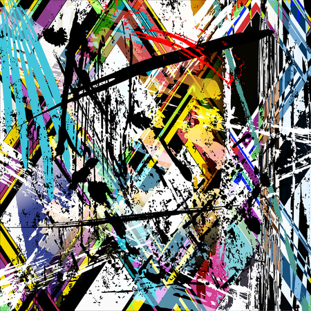 abstract background composition with paint strokes, splashes, stripes and triangles