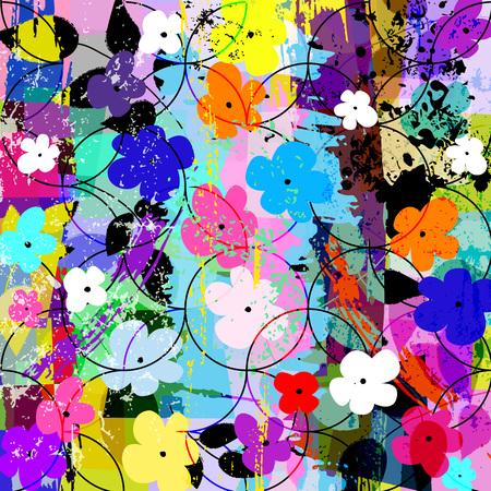Abstracte bloem achtergrond samenstelling, met strepen, spatten, cirkels en kleine bloemen