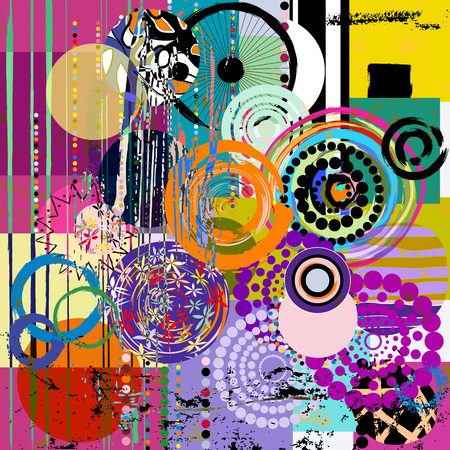 abstract geometric pattern background, with circles, paint strokes and splashes