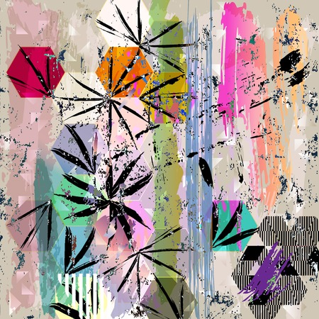 canvas art: abstract background illustration, with strokes, splashes and geometric lines