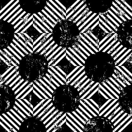 motif de fond sans couture, avec des cercles, des rayures, des coups et des éclaboussures, noir et blanc Vecteurs