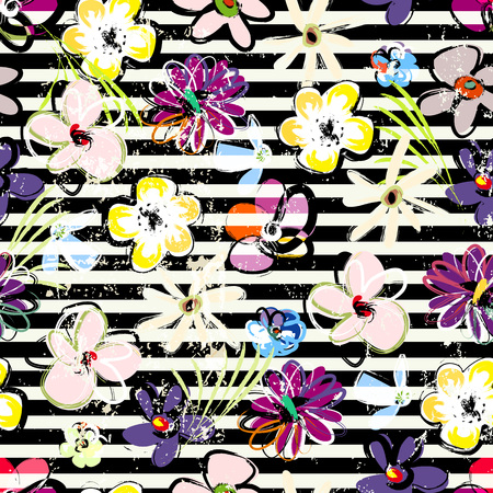 floral seamless pattern background, with stripes, strokes and splashes, black and white