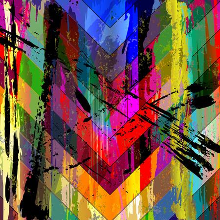 abstracte achtergrond samenstelling, met penseelstreken, spatten en driehoeken Stock Illustratie
