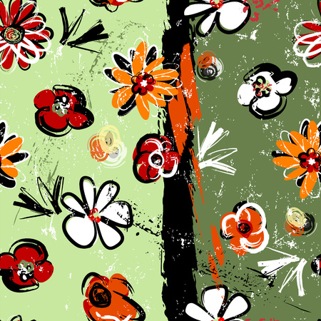 abstract background composition, with paint strokes, splashes and flowers, seamless