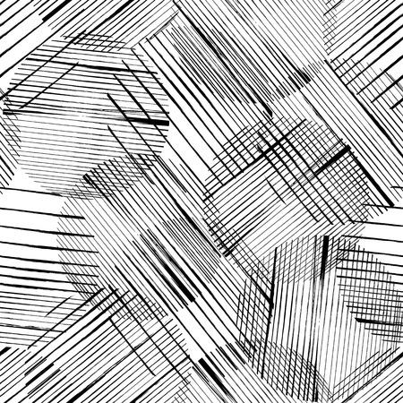 Fondo de patrón geométrico abstracto, con círculos, golpes y salpicaduras, blanco y negro Ilustración de vector