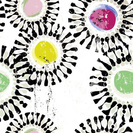 Nahtlose Hintergrundmuster, mit Kreisen, Pinselstrichen und Spritzern Standard-Bild - 87693120