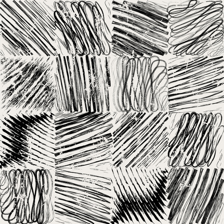 abstract background pattern, with paint strokes and splashes, black and white Illustration