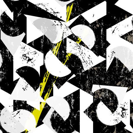nahtloses abstraktes Hintergrundmuster, mit Halbkreisen, Dreiecken, Strichen und Spritzern, schwarz und weiß Vektorgrafik