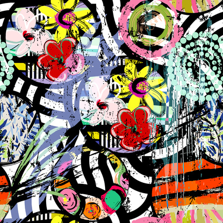 seamless flower pattern background, retro/vintage style, with circles, stripes, flowers, strokes and splashes