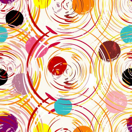 Nahtlose Hintergrundmuster, mit Kreisen, Malstrichen und Spritzern Standard-Bild - 91392973