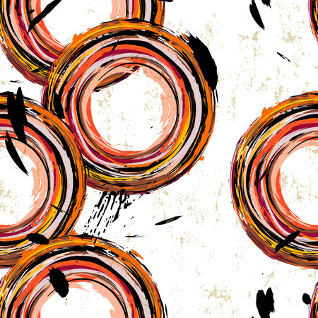 Seamless abstract background pattern, with circles, strokes and splashes Illustration